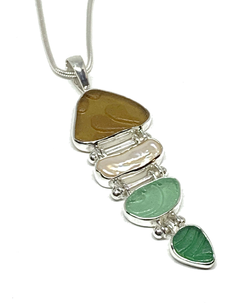 Textured Dark Amber, Aqua & Green Sea Glass with Pearl 4 Piece Stacked Pendant