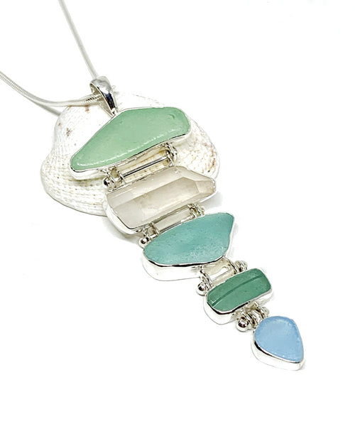 Shades of Aqua Sea Glass with Quartz Crystal 5 Piece Stacked Pendant