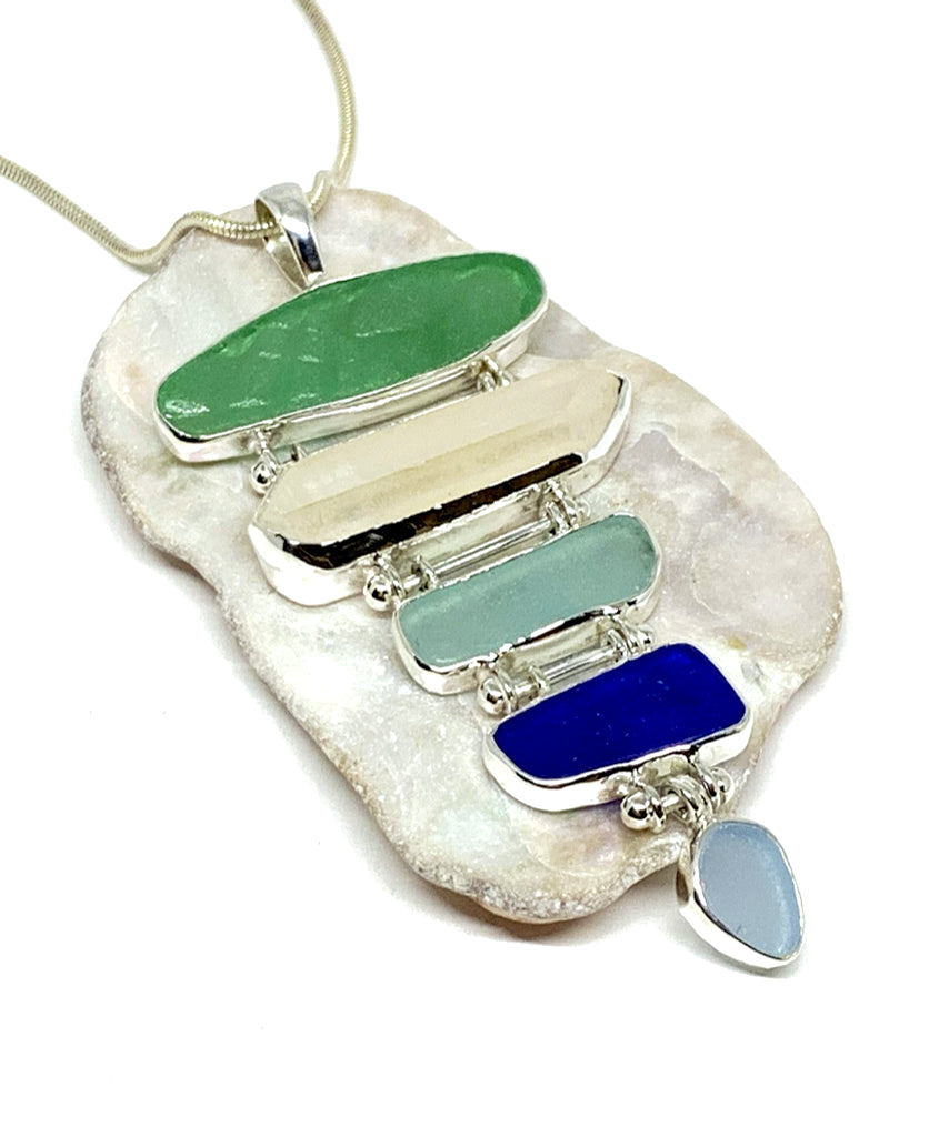 Textured Green, Aqua & Blue with Quartz Crystal 5 Piece Stacked Pendant