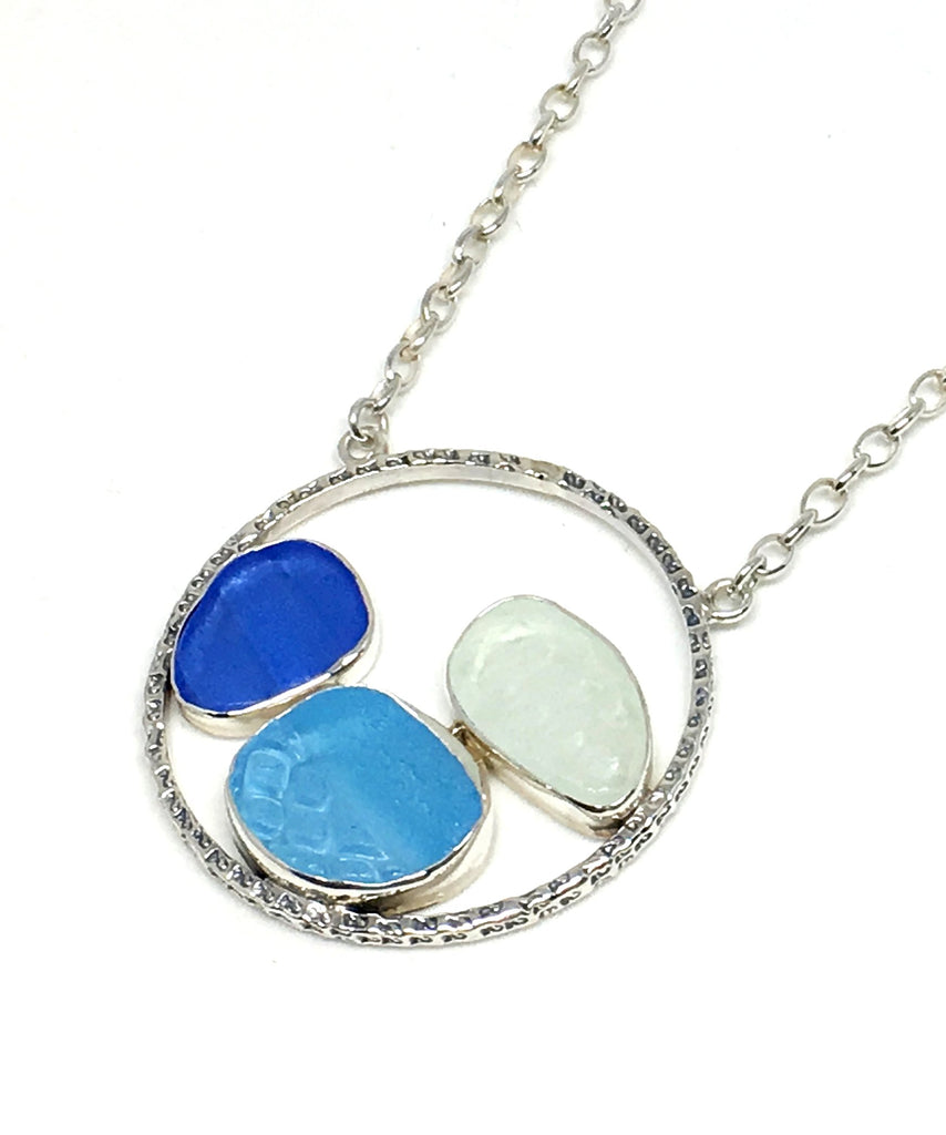 Textured Cobalt, Aqua and Clear Sea Glass Hoop Necklace