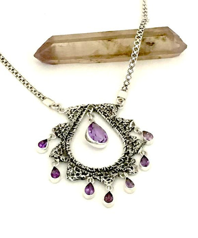 Antique Lace Cast in Sterling Silver with Faceted Amethyst Charm Necklace