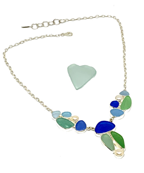 Blue, Green & Aqua 14 Piece Sea Glass Cluster Necklace