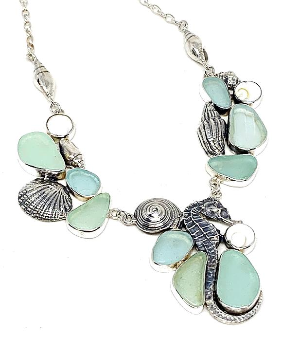 Aqua Sea Glass, Cast Sea Horse and Shells Cluster Necklace