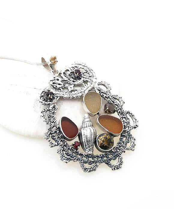 Cast Lace, Shell, Brown Sea Glass and Garnet Stones Pendant