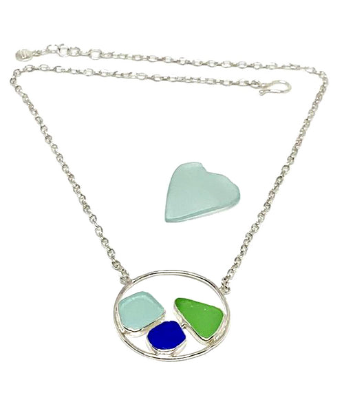 Aqua, Cobalt Blue and Green Sea Glass Hoop Necklace