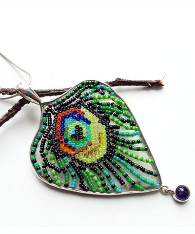 Fused Beaded Peacock Feather Pendant  with  Amethyst on Sterling Silver Chain