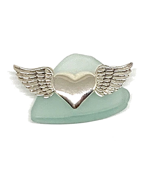 Sterling Silver Heart with Wings Pin