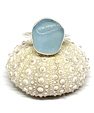 Textured Light Aqua Sea Glass Ring - Size 10