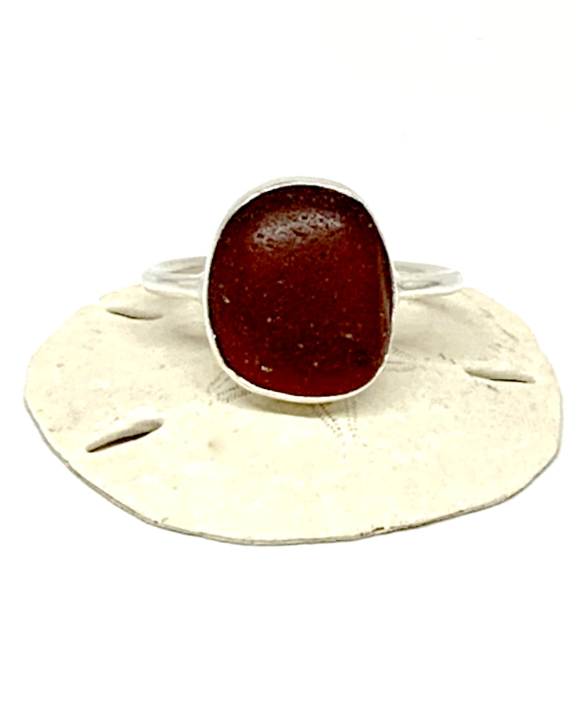 Rich Dark Bown Sea Glass Ring - Size 10