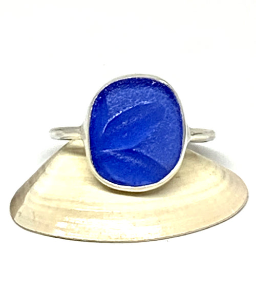 Leaf Pattern Blue Sea Glass Ring - Size 10