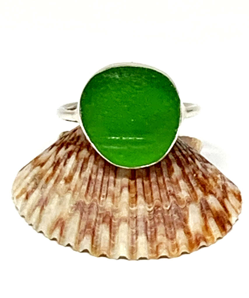 Textured Green Sea Glass Ring - Size 10