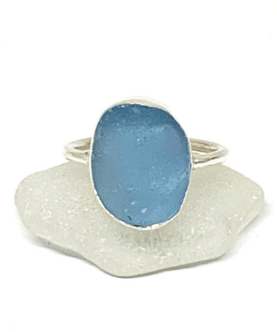 Big Bright Textured Aqua Sea Glass Ring - Size 10