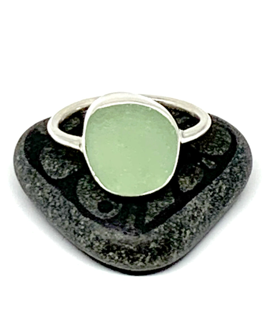 Soft Sage Green Sea Glass Ring - Size 10