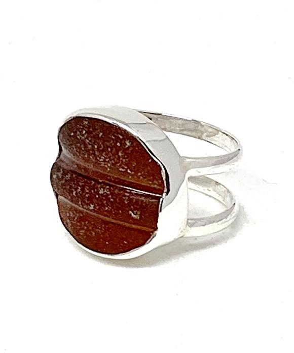 Brown Textured Sea Glass Double Band Unisex Ring - Size 7