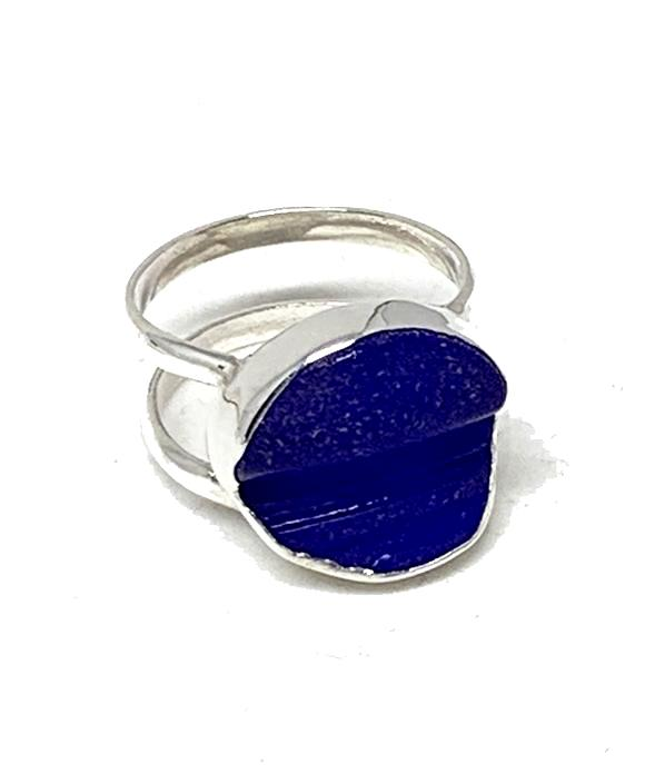 Cobalt Blue Textured Sea Glass Double Band Unisex Ring - Size 6.5