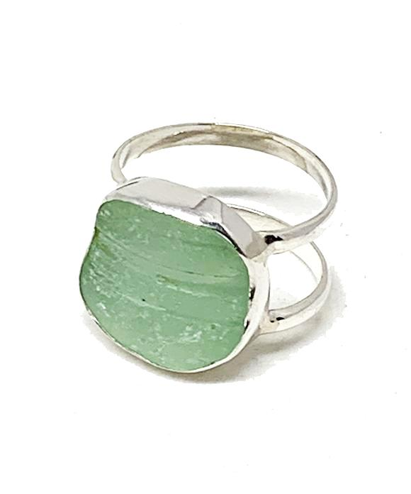 Coke Bottle Blue Sea Glass Double Band Unisex Ring - Size 8