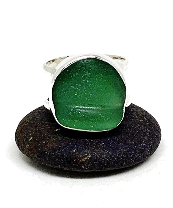 Textured Green Sea Glass Double Band Unisex Ring - Size 5
