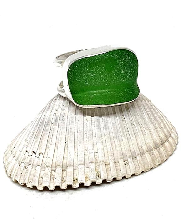 Textured Green Sea Glass Double Band Unisex Ring - Size 9