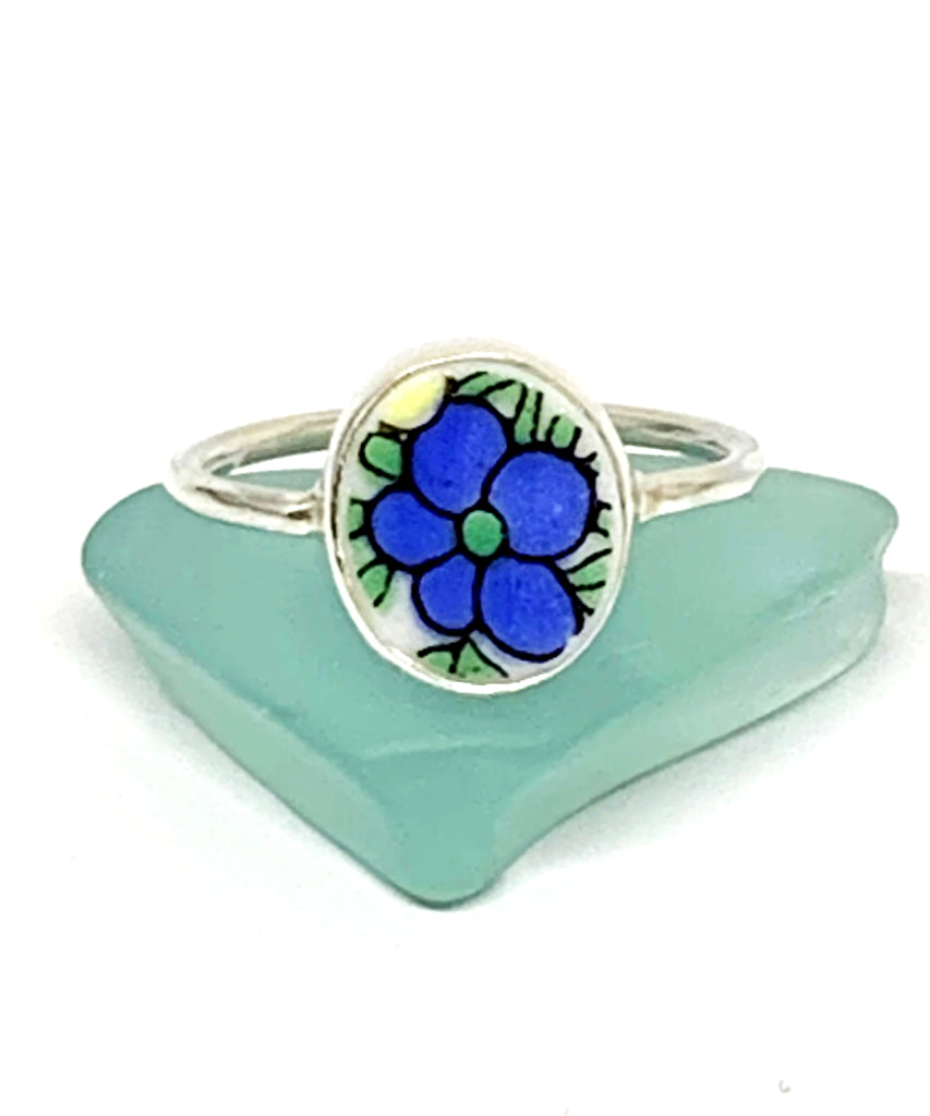 Blue and Green Flower Vintage Pottery Oval