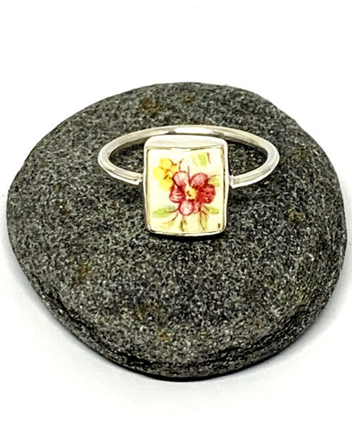 Pink & Yellow Flower Vintage Pottery Rectangle