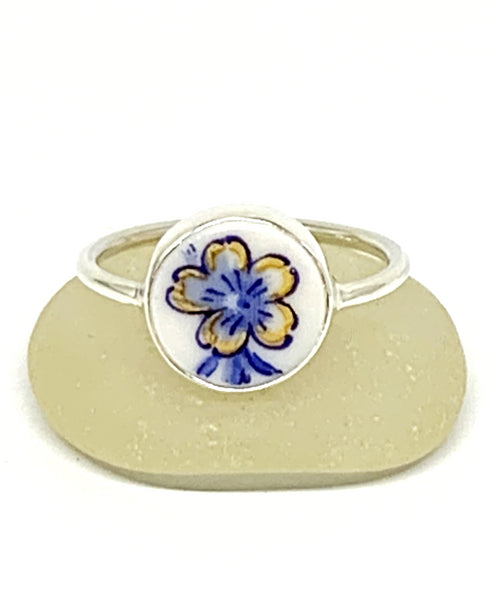 Blue and Gold Flower Vintage Pottery Round