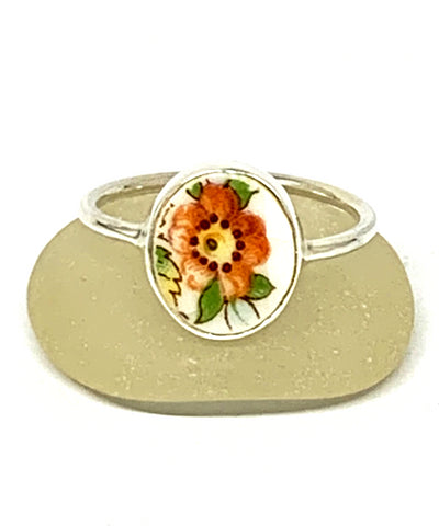 Orange & Yellow Flower Vintage Pottery Oval