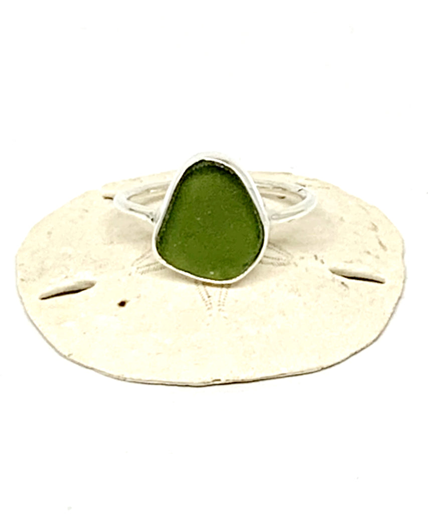 Rich Olive Green Sea Glass