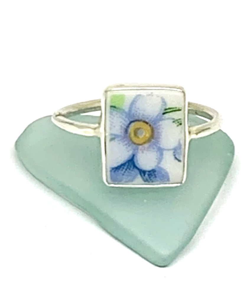 White & Yellow Flower on Blue Vintage Pottery Rectangle