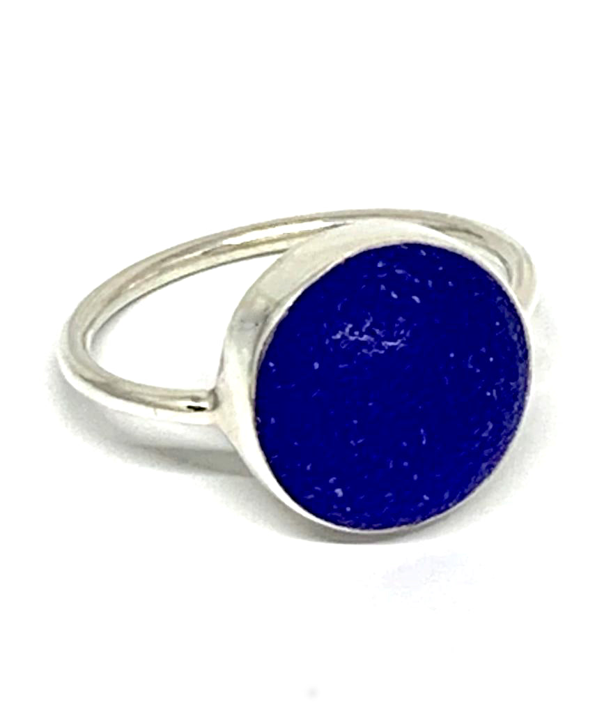 Cobalt Blue Sea Glass Marble Ring - Size 8