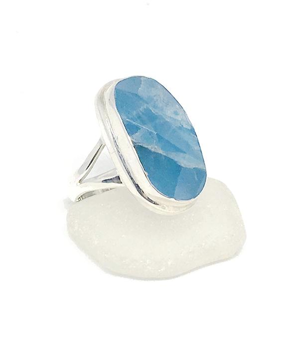 Faceted Amazonite Long Chunky Shape Ring - Size 7