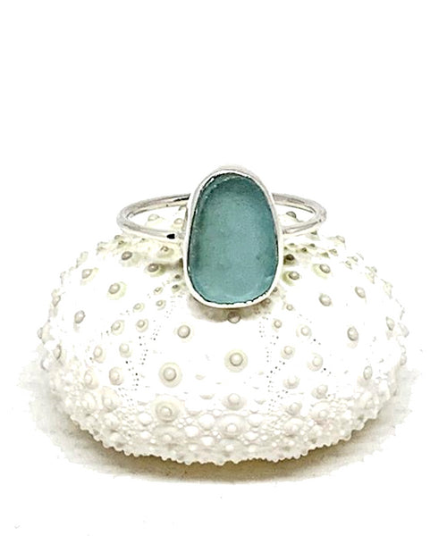 Bright Aqua Blue Sea Glass Stack Able