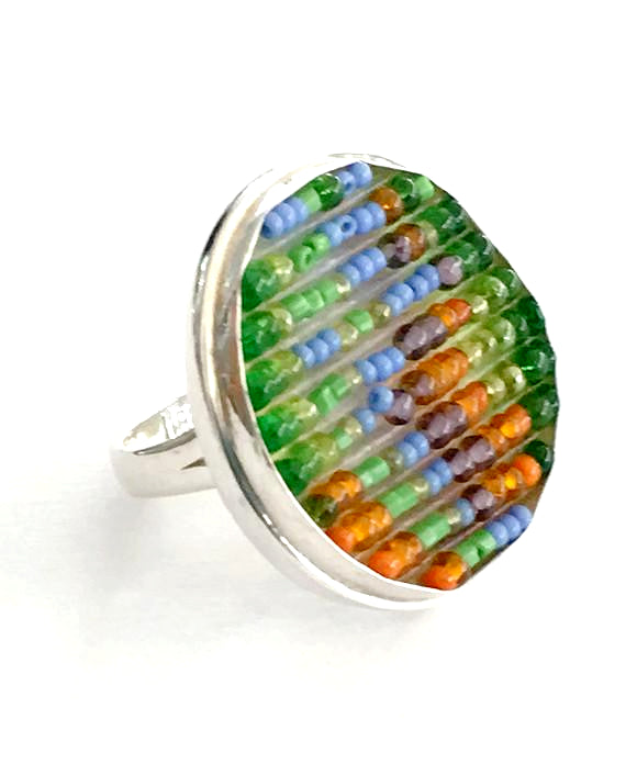 Green, Orange and Lavender Beaded Fused Glass Statement Ring - Size 8