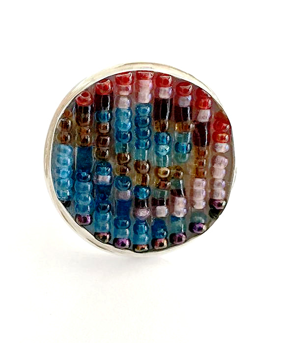 Abstract Turquoise & Red Beaded Fused Glass Statement Ring - Size 8
