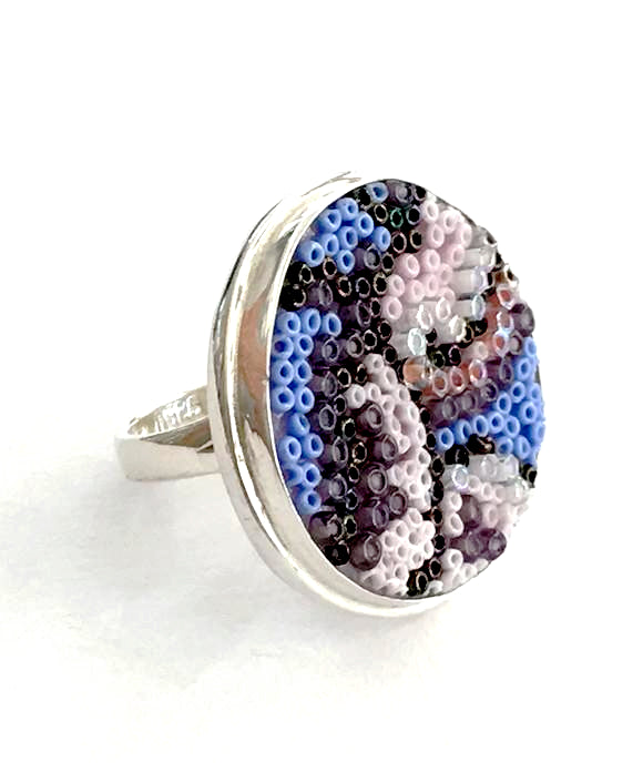 Purple, Pink & Lavender Beaded Fused Glass Statement Ring - Size 8