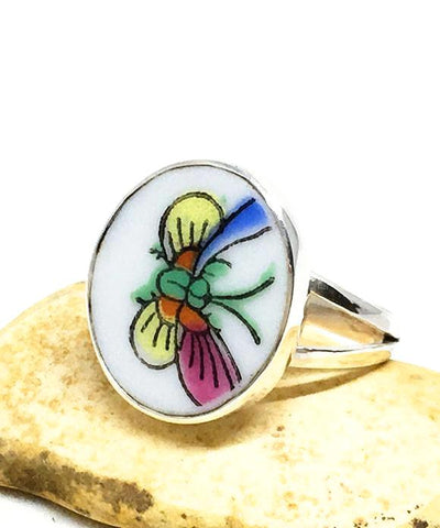 Colorful Butterfly Oval Vintage Pottery Ring- Size 6.5