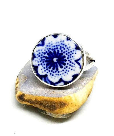 Blue and White Flower Round Vintage Pottery Ring- Size 5
