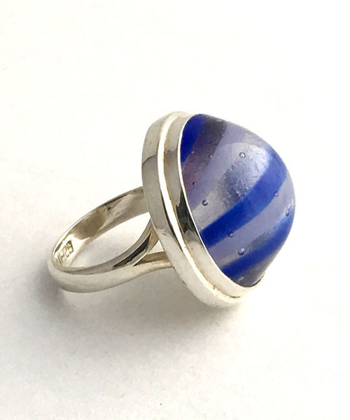 Blue Striped Fused Glass Bubble Ring - Size 7