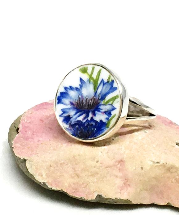 Blue Flower Round Vintage Pottery Ring- Size 6