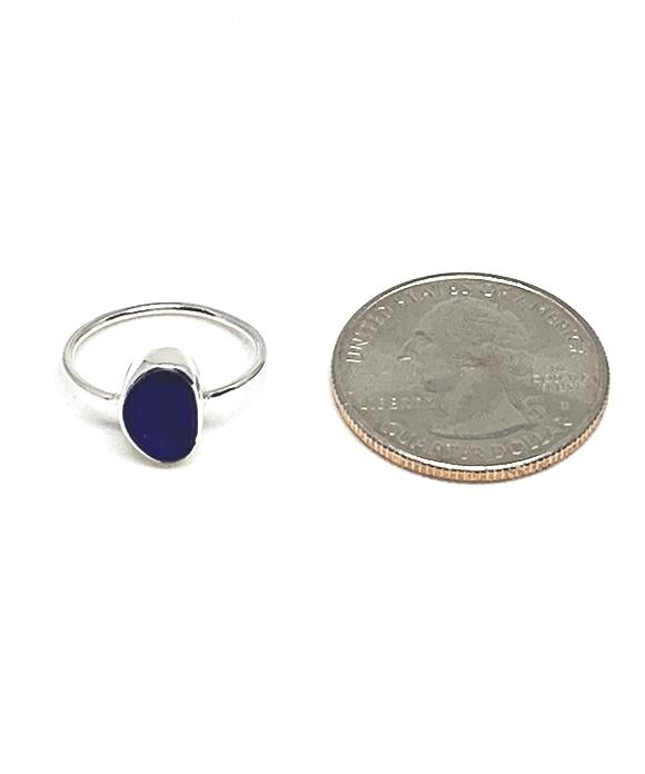Blue Textured Sea Glass Ring - Size 5.5