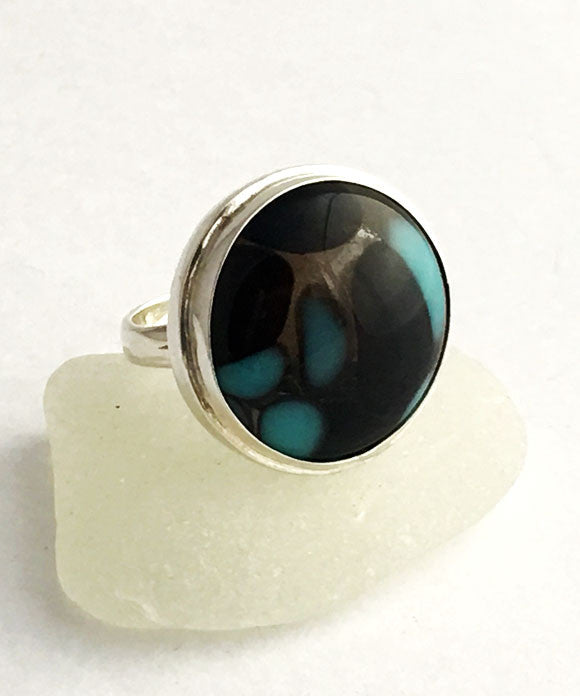 Brown & Turquoise Fused Glass Bubble Ring - Size 7