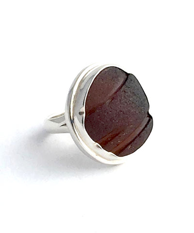 Brown Textured Sea Glass Ring - Size 6