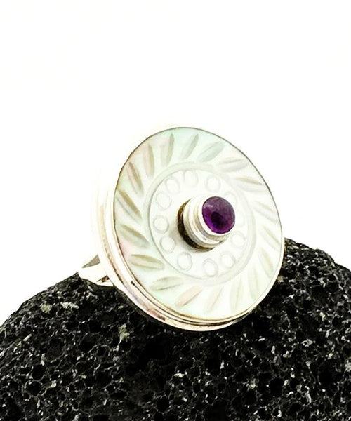 Vintage Mother of Pearl Button with Amethyst Ring - Size 7.5