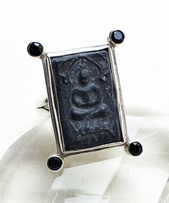 Antique Buddha Amulet with Faceted Spinelli Ring - Size 8