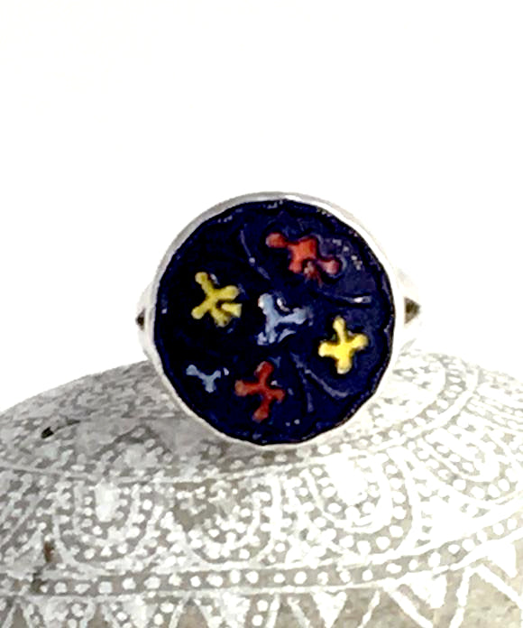 Navy Blue with Colorful Pattern Vintage Button Simple Bezel Ring - Size 8