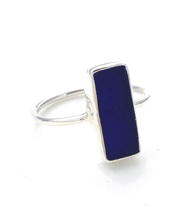 Rectangle Cobalt Blue Sea Glass Stack Able