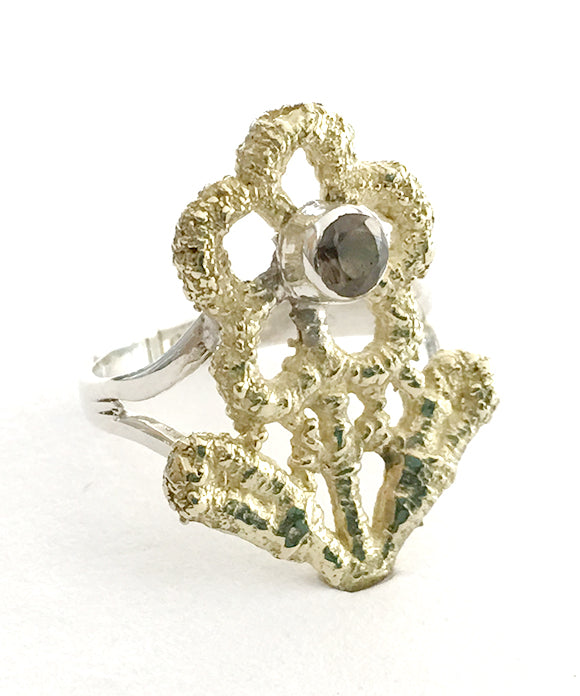 Lace Flower Cast in Yellow Brass with Faceted Smokey Quartz Ring - Size 6.5
