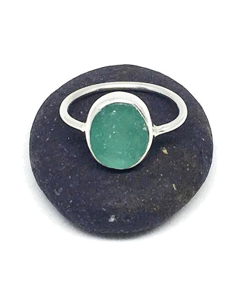 Green Sea Glass Ring - Size 8.5