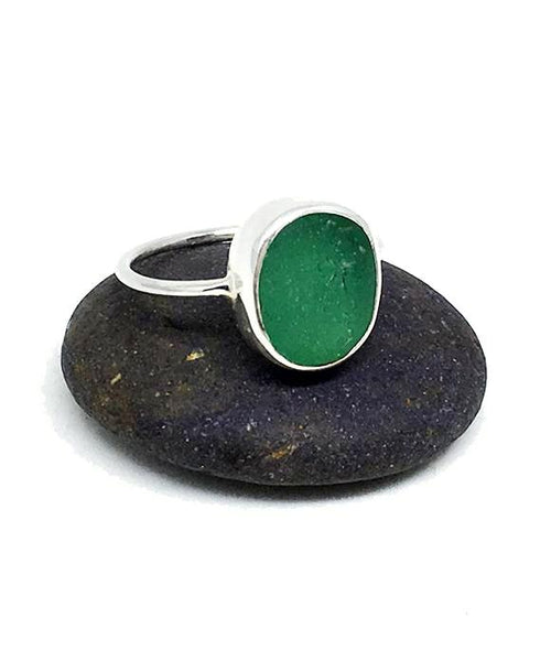 Green Textures Sea Glass Ring - Size 4.5