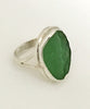 Green Textured Sea Glass Ring - Size 6.5
