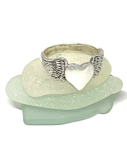 Sterling Silver Heart with Wings Ring